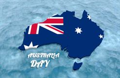 Map of Australia. Textured by national flag. Australia Day text. 3D rendering Royalty Free Stock Image