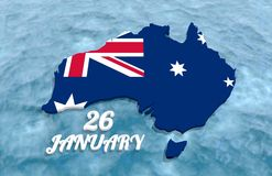 Map of Australia. Textured by national flag. 26 January text. 3D rendering Stock Photography