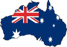 Map Australia-Vector. Illustration Vector of a Map and Flag from Australia Stock Photography