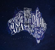 Map Australia vintage blue Stock Photography