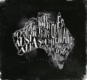 Map Australia vintage chalk Stock Images