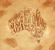 Map Australia vintage craft Royalty Free Stock Images