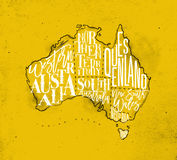 Map Australia vintage yellow Stock Photo