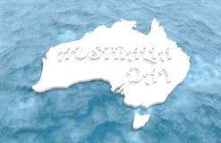 Map of Australia. Washed by ocean. Australia Day text. 3D rendering Stock Photo