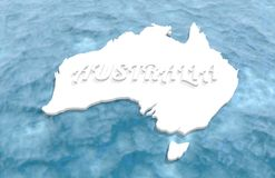 Map of Australia. Washed by ocean. Australia text. 3D rendering Royalty Free Stock Images