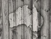 Map of Australia on weathered wood Royalty Free Stock Photography