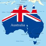 Map of australian continent. Abstract map of australian continent colored by  national flag Royalty Free Stock Photography