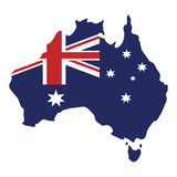 map australian flag background Stock Photo