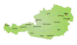 Map of Austria. Stylized map of Austria showing cities, provinces and several rivers. All on white background. german caption Royalty Free Stock Image