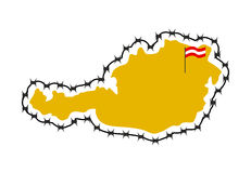 Map Of Austria. Country closes  border against refugees. Map of Royalty Free Stock Image