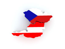 Map of Austria and Czech Republic. Stock Images