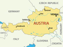 Map of Austria - illustration - vector Stock Image
