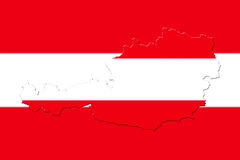 Map of Austria with national flag. As background Stock Image