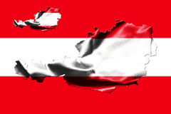 Map of Austria with national flag. Isolated on Austrian Flag  background Stock Photo