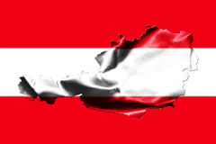 Map of Austria with national flag. Isolated on Austrian Flag  background Royalty Free Stock Photography