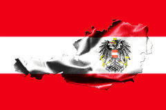 Map of Austria with national flag. Isolated on Austrian Flag  background With Coat Of Arms Eagle Emblem Royalty Free Stock Images