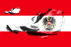 Map of Austria with national flag. Isolated on Austrian Flag  background With Coat Of Arms Eagle Emblem Stock Photos