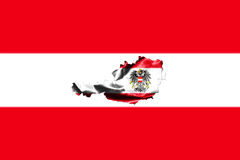 Map of Austria with national flag. Isolated on Austrian Flag  background With Coat Of Arms Eagle Emblem Stock Images