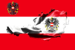 Map of Austria with national flag. Isolated on Austrian Flag  background With Coat Of Arms Eagle Emblem Royalty Free Stock Photography