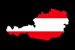 Map of Austria with national flag. Isolated on black background Stock Images
