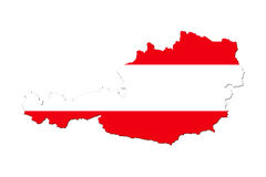 Map of Austria with national flag. Isolated on white background Royalty Free Stock Photography