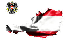 Map of Austria with national flag. Isolated on white  background With Coat Of Arms Eagle Emblem Stock Photography