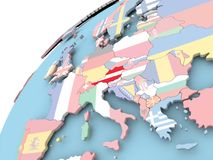 Austria on globe with flag. Map of Austria on political globe with embedded flag. 3D illustration Stock Photography