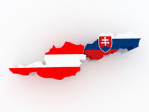 Map of Austria and Slovakia. Stock Photos