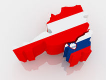 Map of Austria and Slovenia. Stock Photos