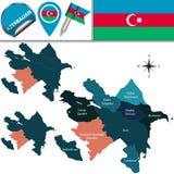 Map of Azerbaijan with Nagorno Karabakh Rep. Royalty Free Stock Photography