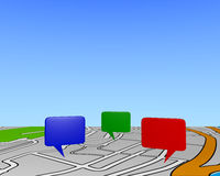 Map background. Background illustration showing a perspective view of a gps map with three colored markers on it, on which blank space can be used as copyspace Stock Image