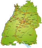 Map of Baden-Wuerttemberg Royalty Free Stock Photography