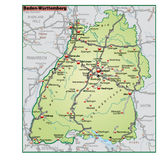 Map of Baden-Wuerttemberg with neighboring countri Royalty Free Stock Photography