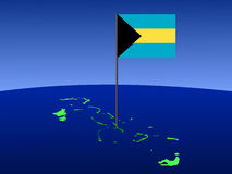 Map of Bahamas with flag. Map of Bahamas and their flag on pole illustration Stock Images