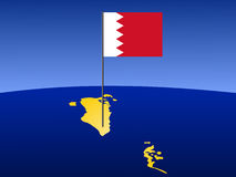 Map of Bahrain with flag. Map of Bahrain and their flag on pole illustration stock illustration