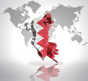 Map of Bahrain. With Bahrain Flag on a world map background Royalty Free Stock Images