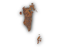 Map of Bahrain on rusty metal Royalty Free Stock Photography