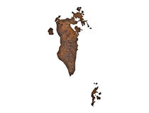 Map of Bahrain on rusty metal Royalty Free Stock Photo