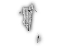 Map of Bahrain on weathered wood Royalty Free Stock Photography