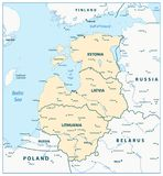 Map of the Baltic States. Vector illustration royalty free illustration