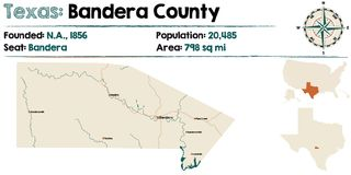 Map of Bandera county in Texas. Detailed map of Bandera county in Texas, USA Royalty Free Stock Photo