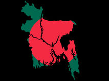 Map of Bangladesh. And Bangladeshi flag illustration stock illustration