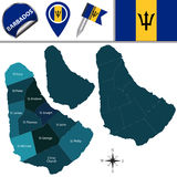 Map of Barbados with Parishes Royalty Free Stock Photos