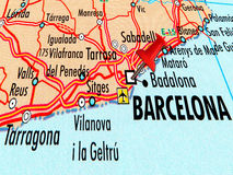 Map of Barcelona with stabbed pin Royalty Free Stock Image