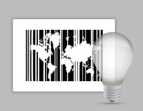 Map barcode and lightbulb Royalty Free Stock Photography