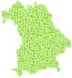 Map of Bavaria - German -. In a mosaic of green squares Stock Photography