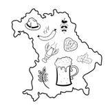 Map of Bavaria with oktoberfest symbols Stock Photography