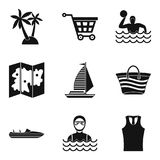 Map of beach icons set, simple style Stock Photos