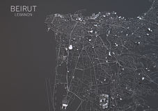 Map of Beirut, Lebanon, satellite view Stock Photos