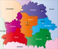 Map of Belarus. Belarus map designed in illustration with the regions colored in bright colors and with the main cities. On an illustration neighbouring Royalty Free Stock Photo